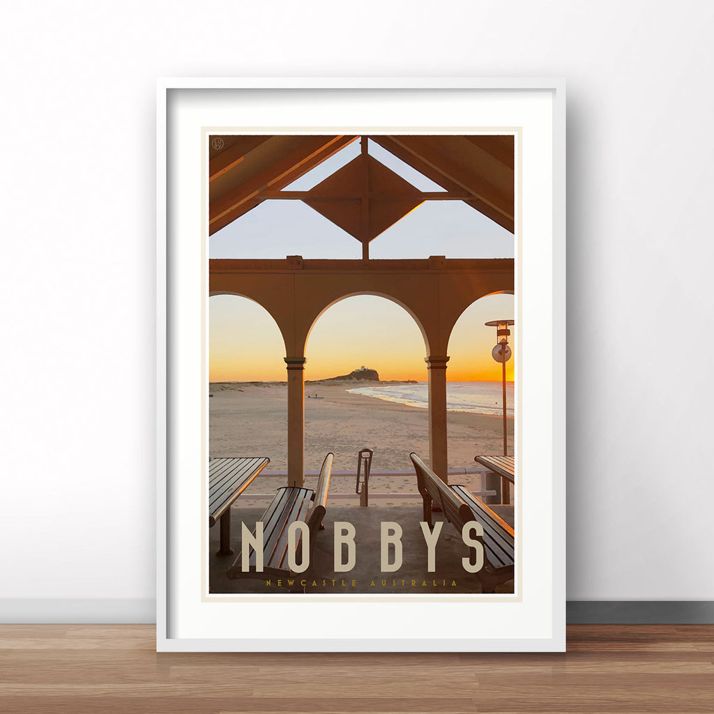 Nobbys beach newcastle vintage travel poster by placesweluv
