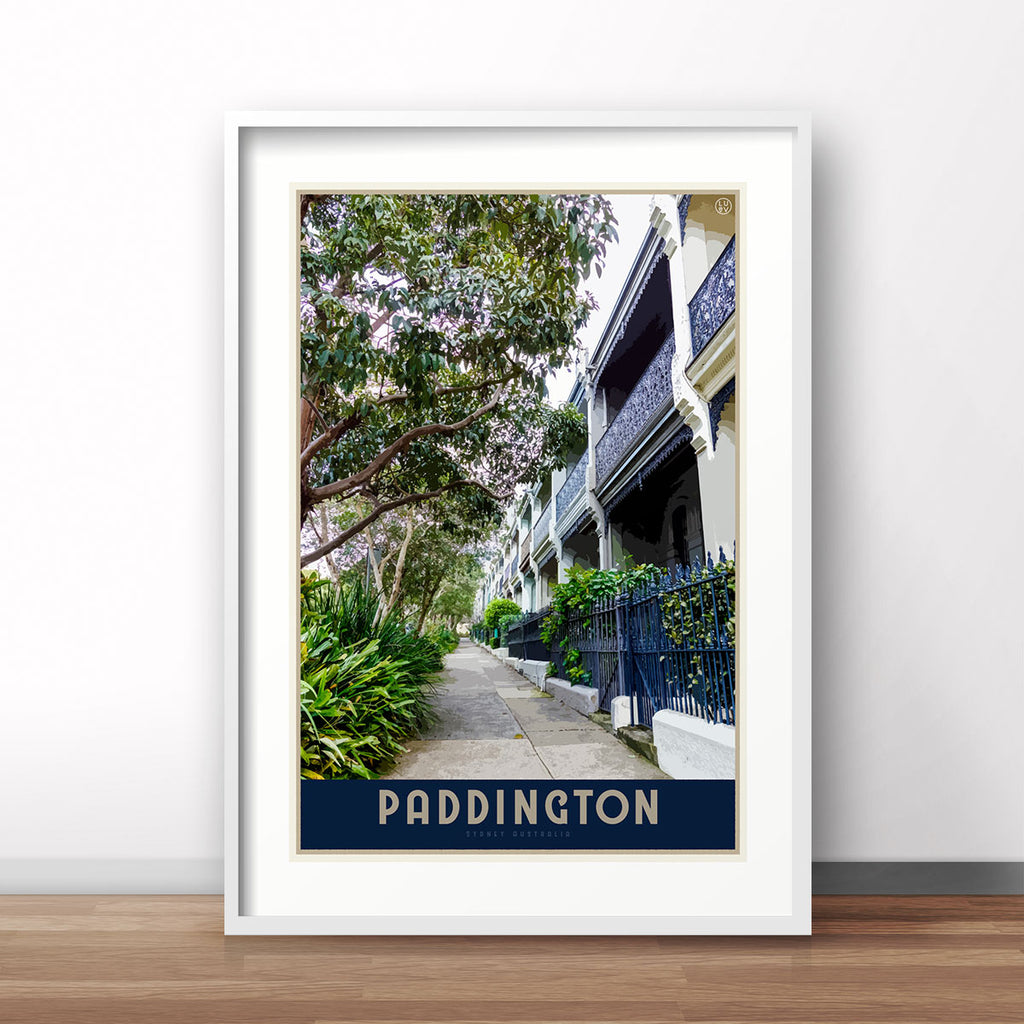Paddington Sydney travel poster by places we luv