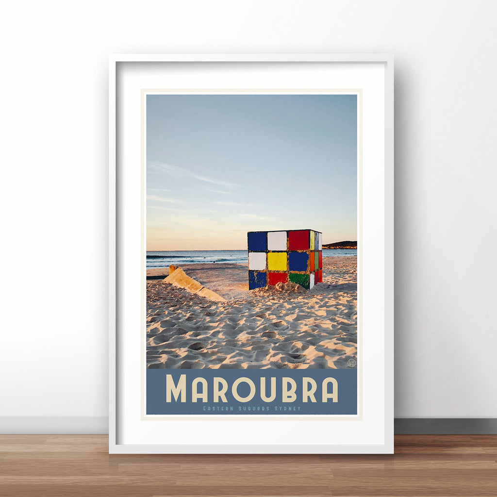 Maroubra cube sydney travel poster by places we luv