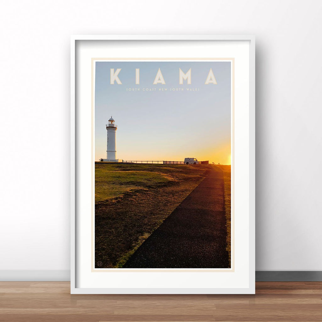 Kiama vintage travel style print in frame - design by Places We Luv