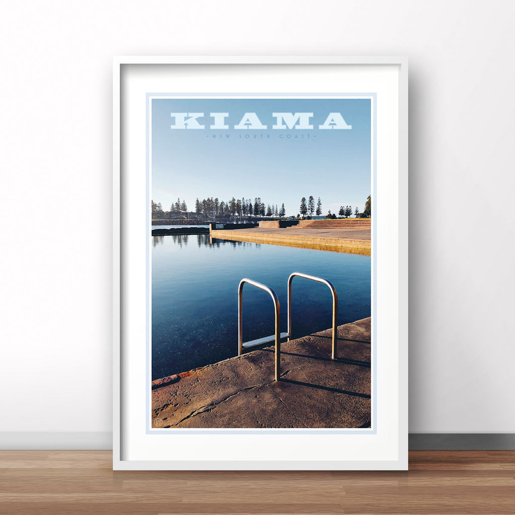 Kiama Pool Print. Vintage travel style poster by places we love