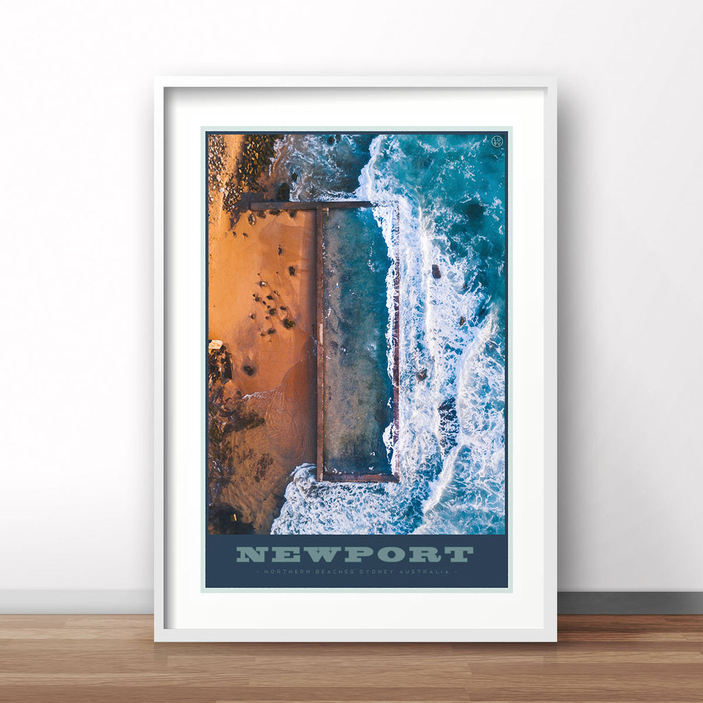 Newport pool print vintage travel style framed in white by places we luv