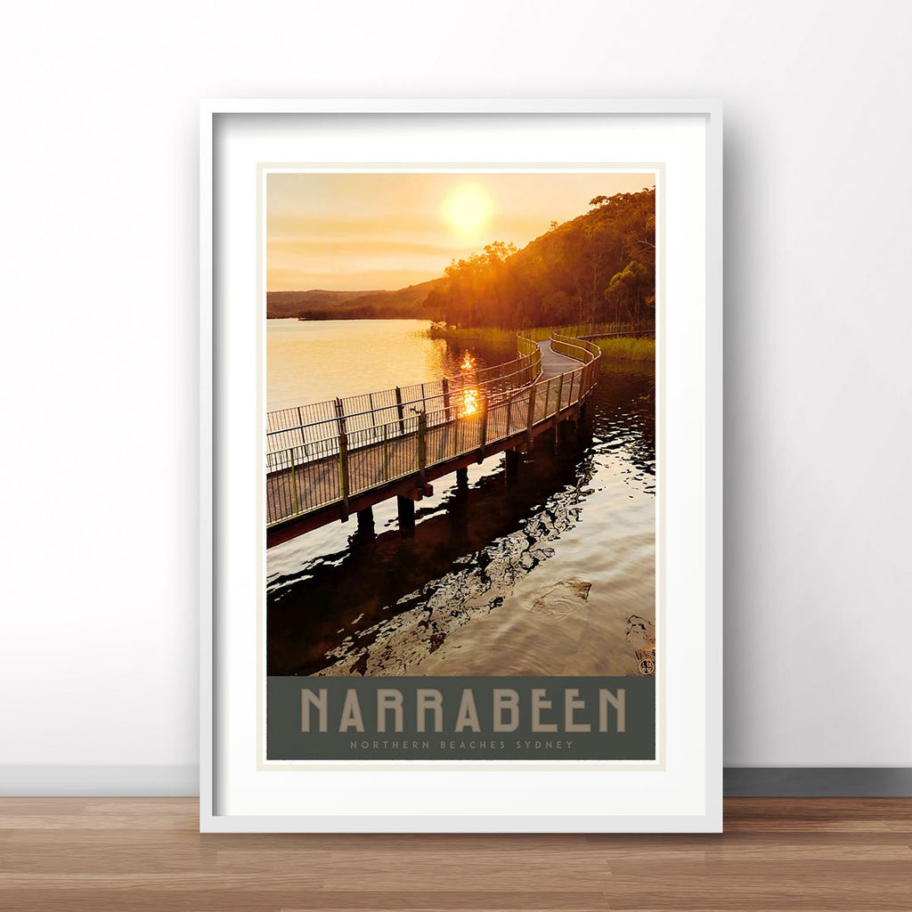 Narrabeen Lake print vintage travel style by placesweluv