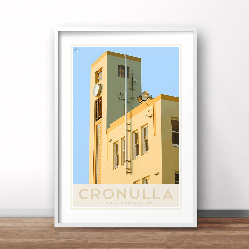 Cronulla Beach vintage style travel print, interior favourite, designed by places we luv