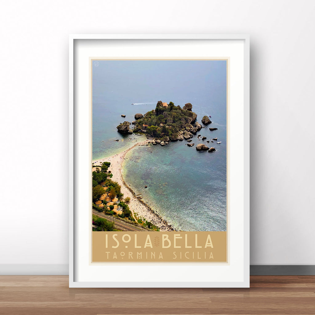 Taormina Sicily vintage travel style white framed print by places we luv