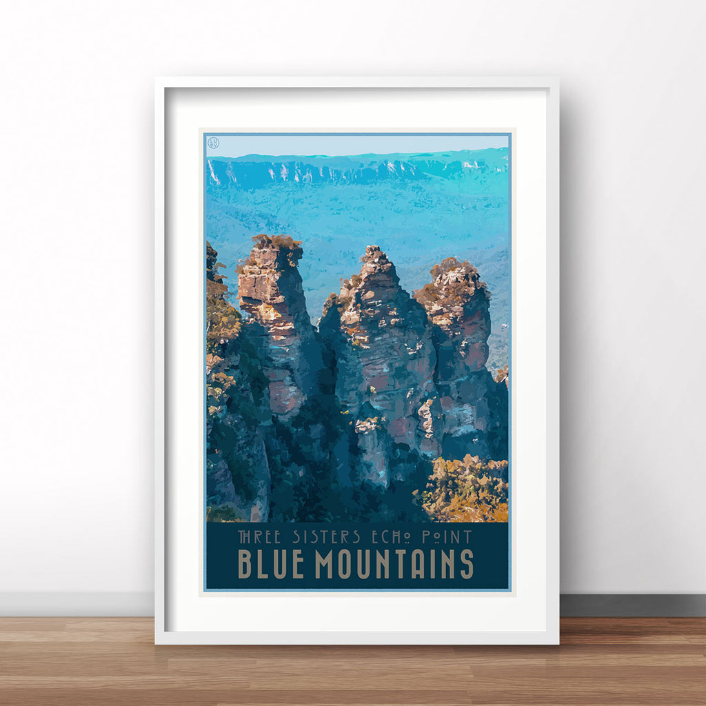 Blue Mountains Echo Point vintage travel style framed art print by Places We Luv