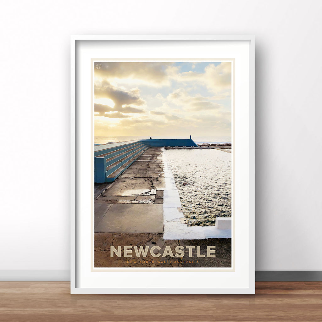 Newcastle poster vintage travel style designed by Places We Luv
