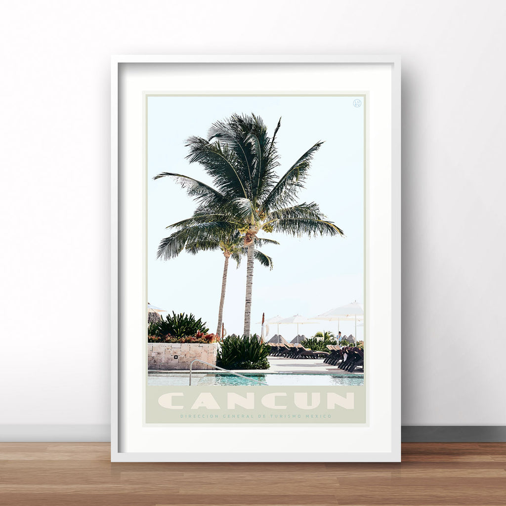 Cancun Mexico vintage travel style print designed by placesweluv