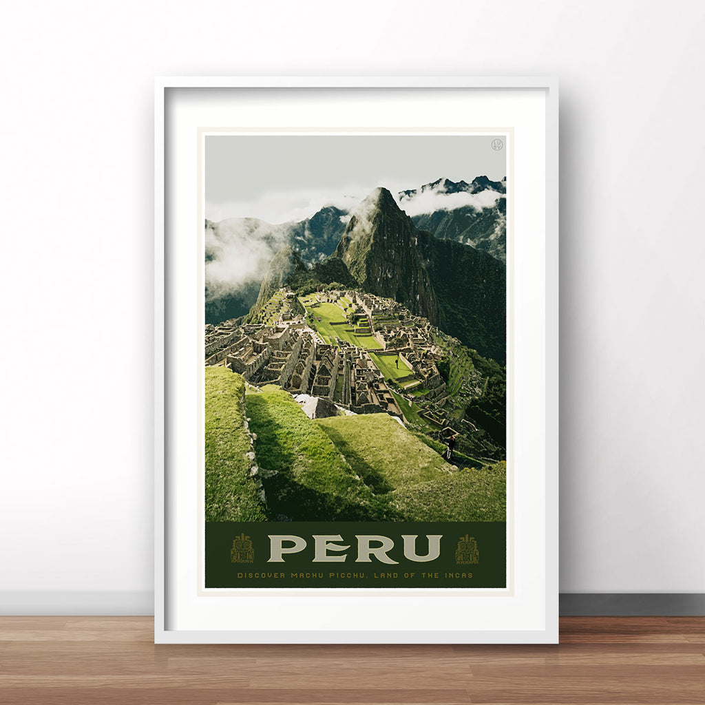 Machu Picchu vintage style travel poster by places we luv