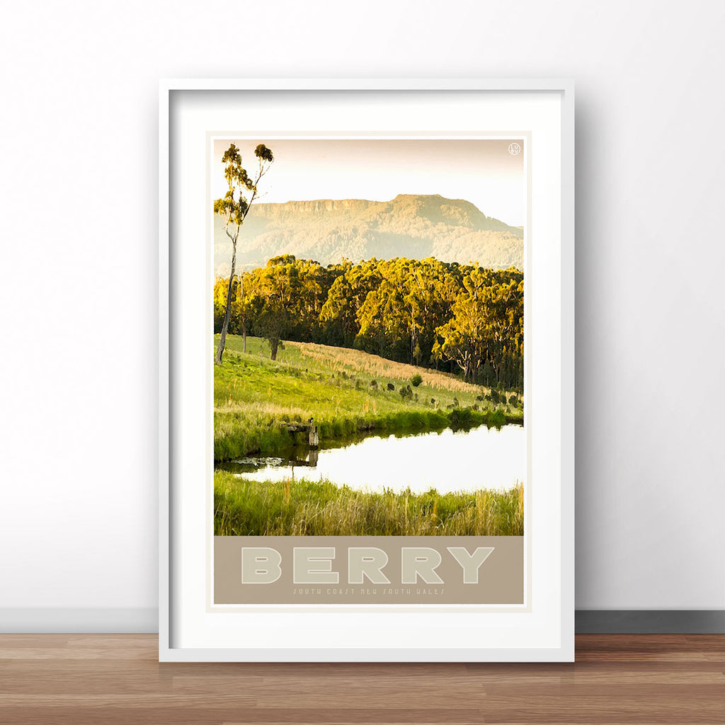 Berry vintage travel style framed art print by Places We Luv
