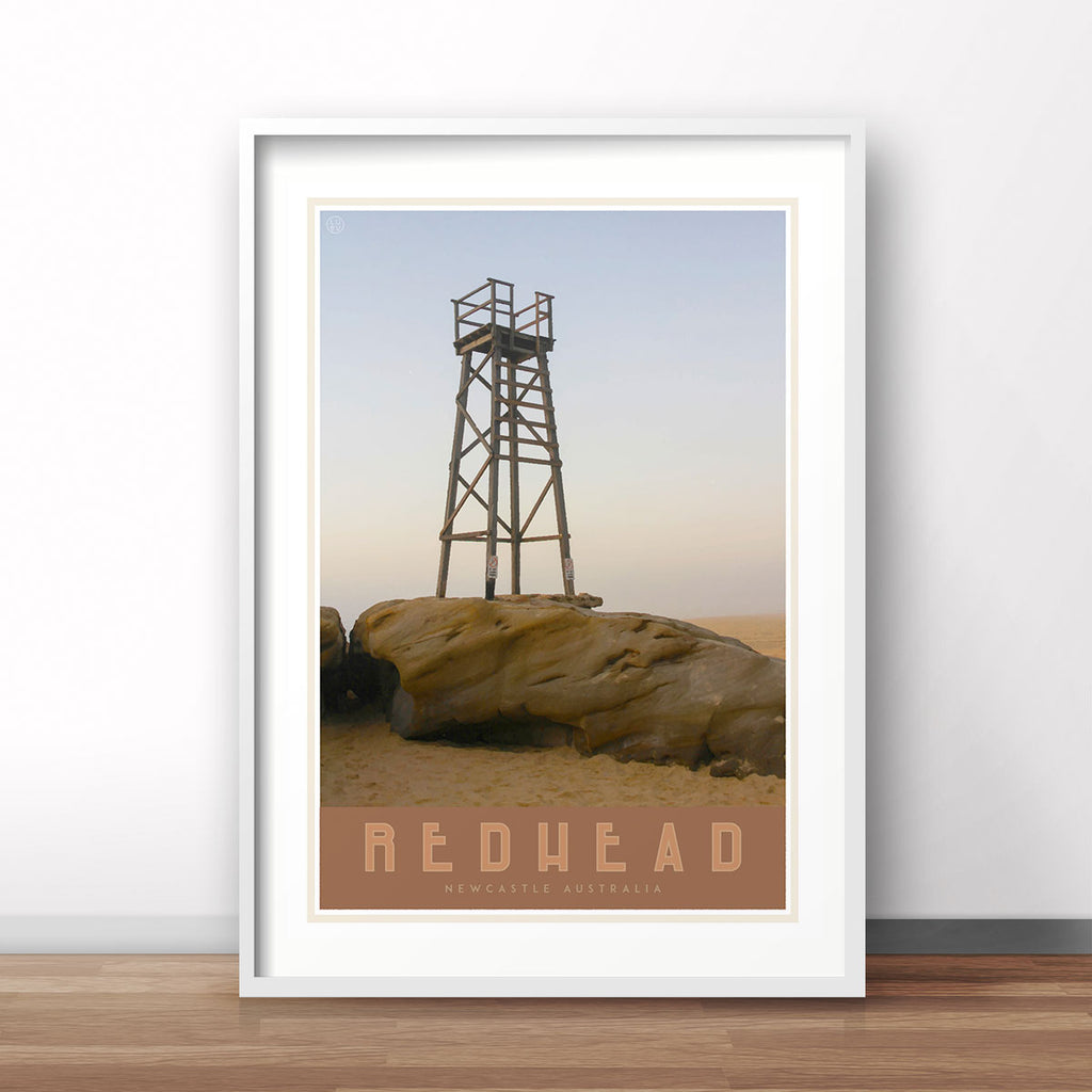 Newcastle redhead beach vintage travel style framed print places we luv