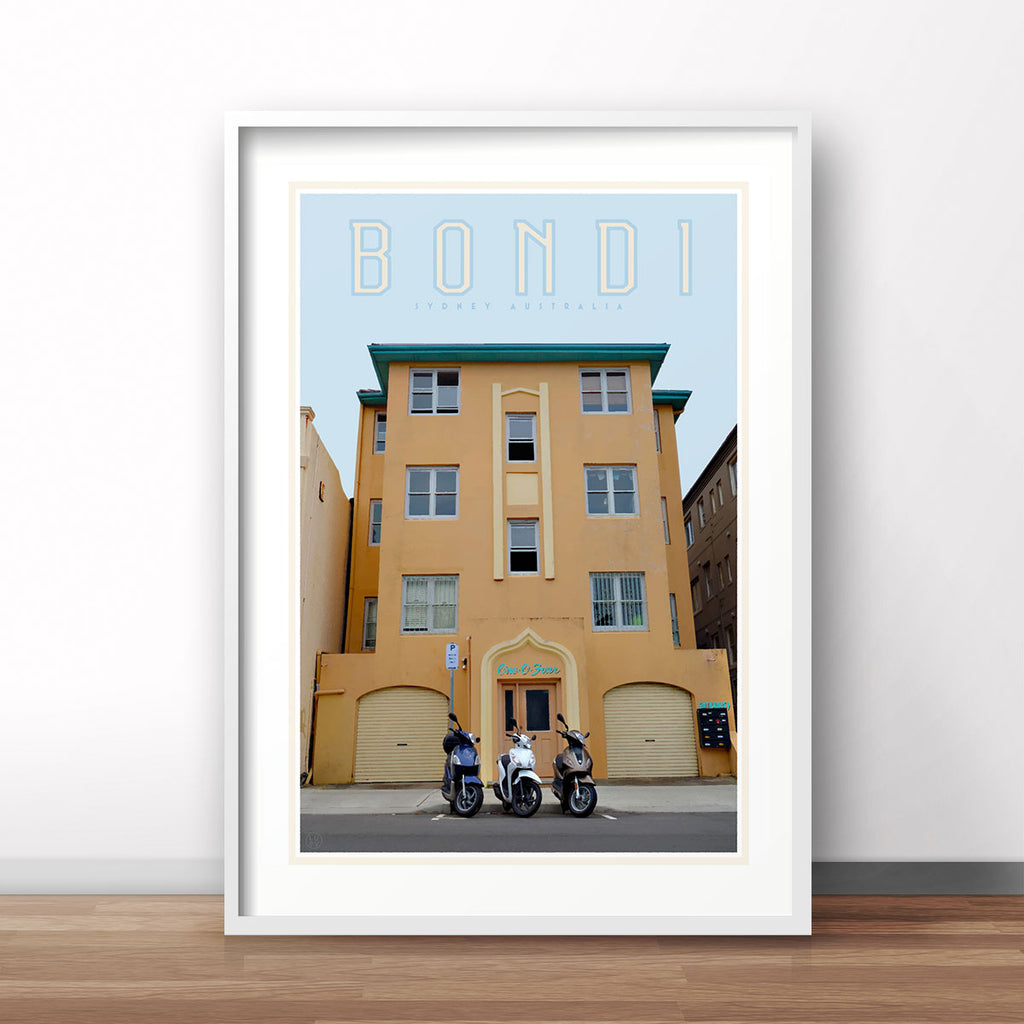Bondi Art deco vintage travel style poster by Placesweluv
