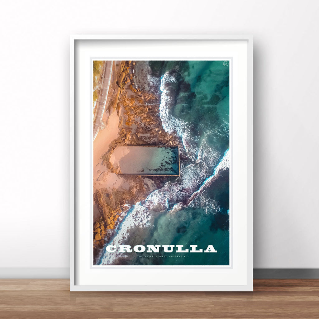 Cremorne pool vintage style framed travel print by Places We Luv