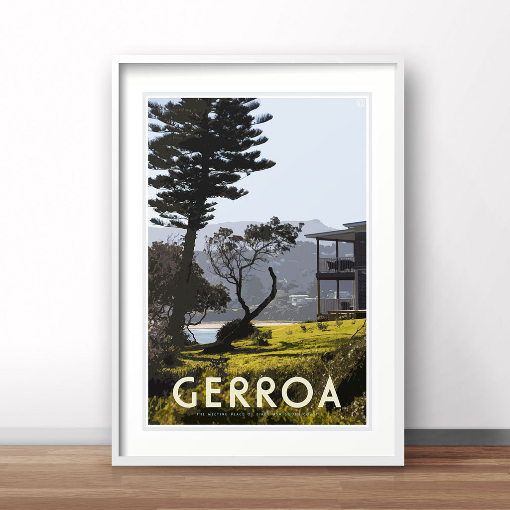 Gerroa vintage travel style white framed print - by Places We Luv