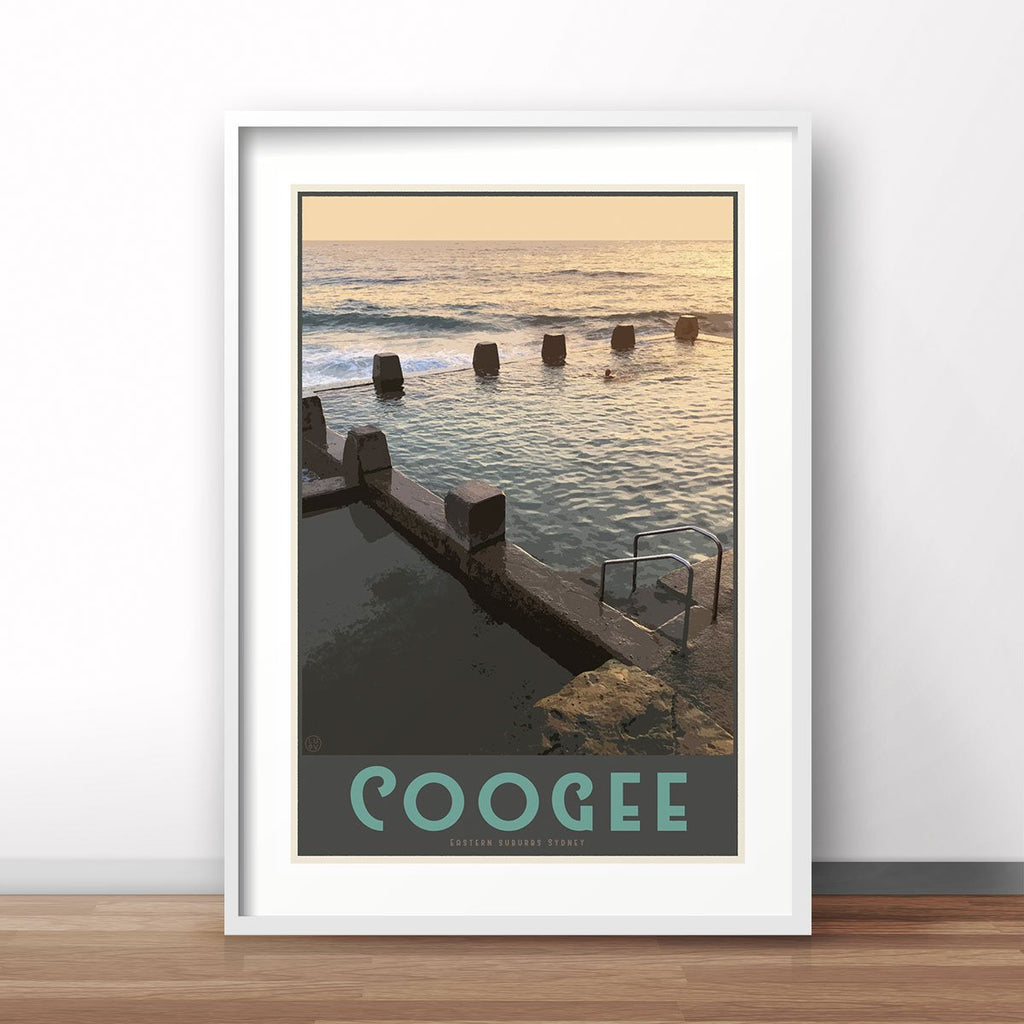 Coogee Pool Sydney vintage travel style white framed prints by places we luv