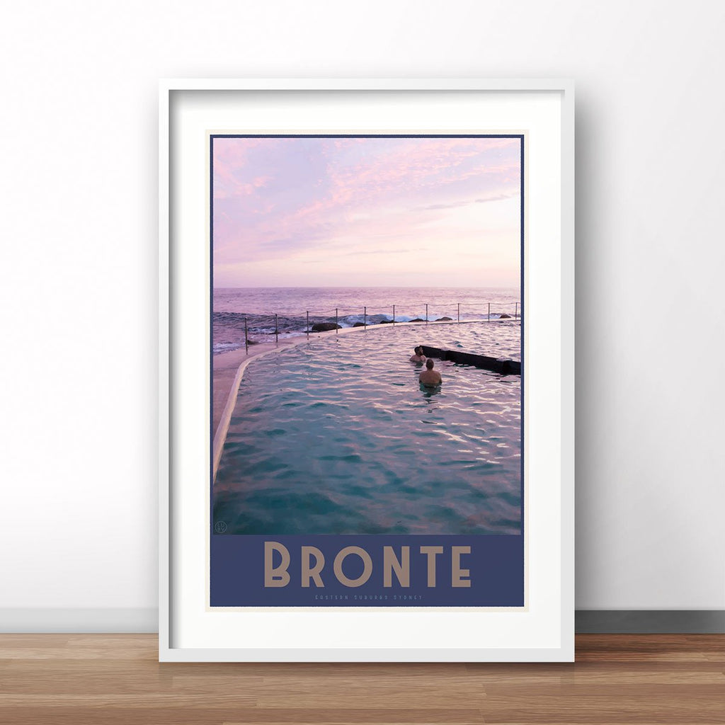 Bronte vintage travel style white framed prints by places we luv