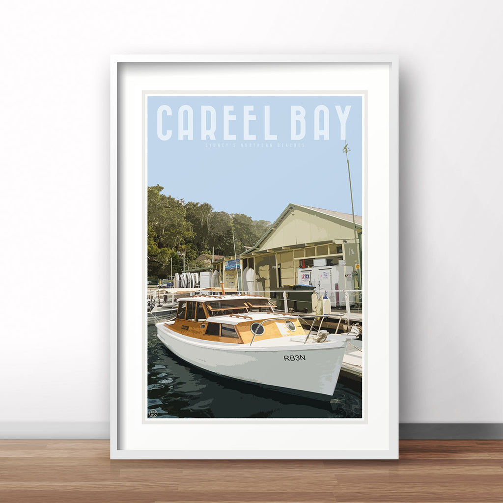 Careel Bay vintage travel style print by places we luv