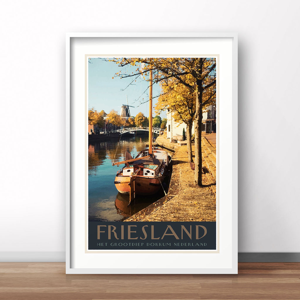 Friesland vintage travel style poster by places we luv