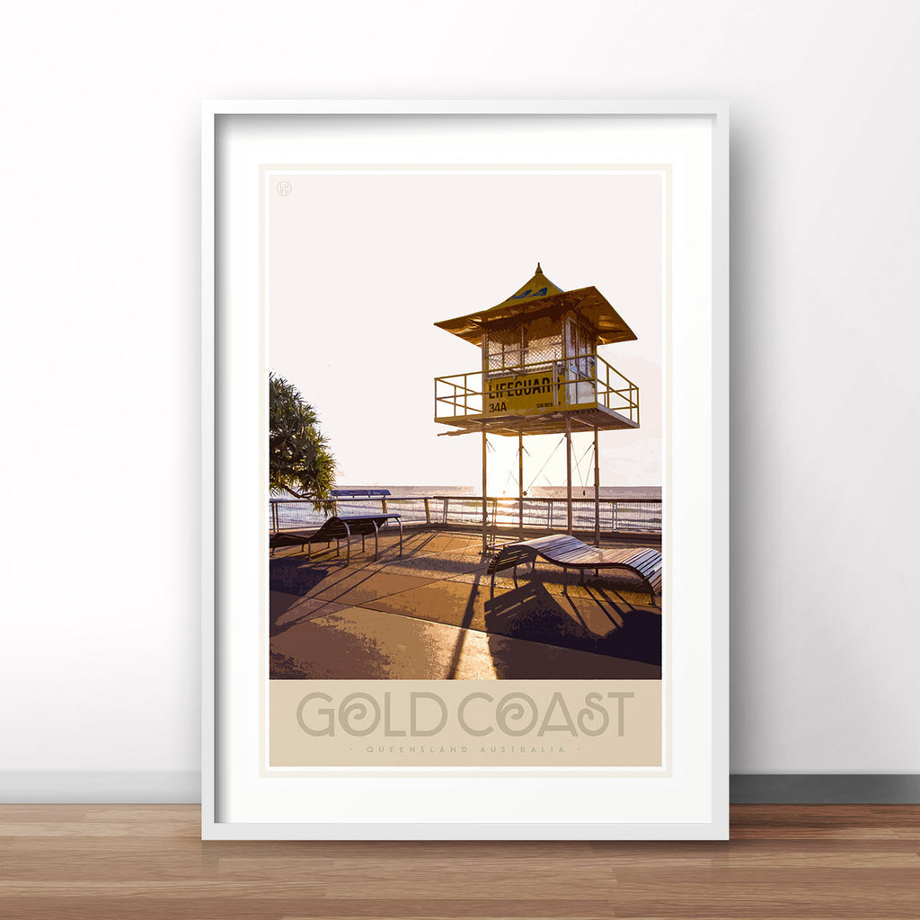 Gold Coast vintage travel poster by places we luv
