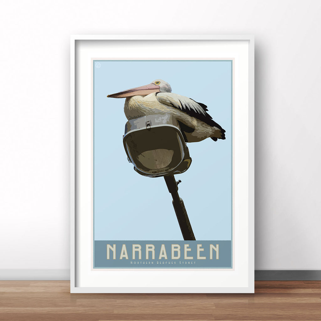 Narrabeen vintage travel style poster by places we luv