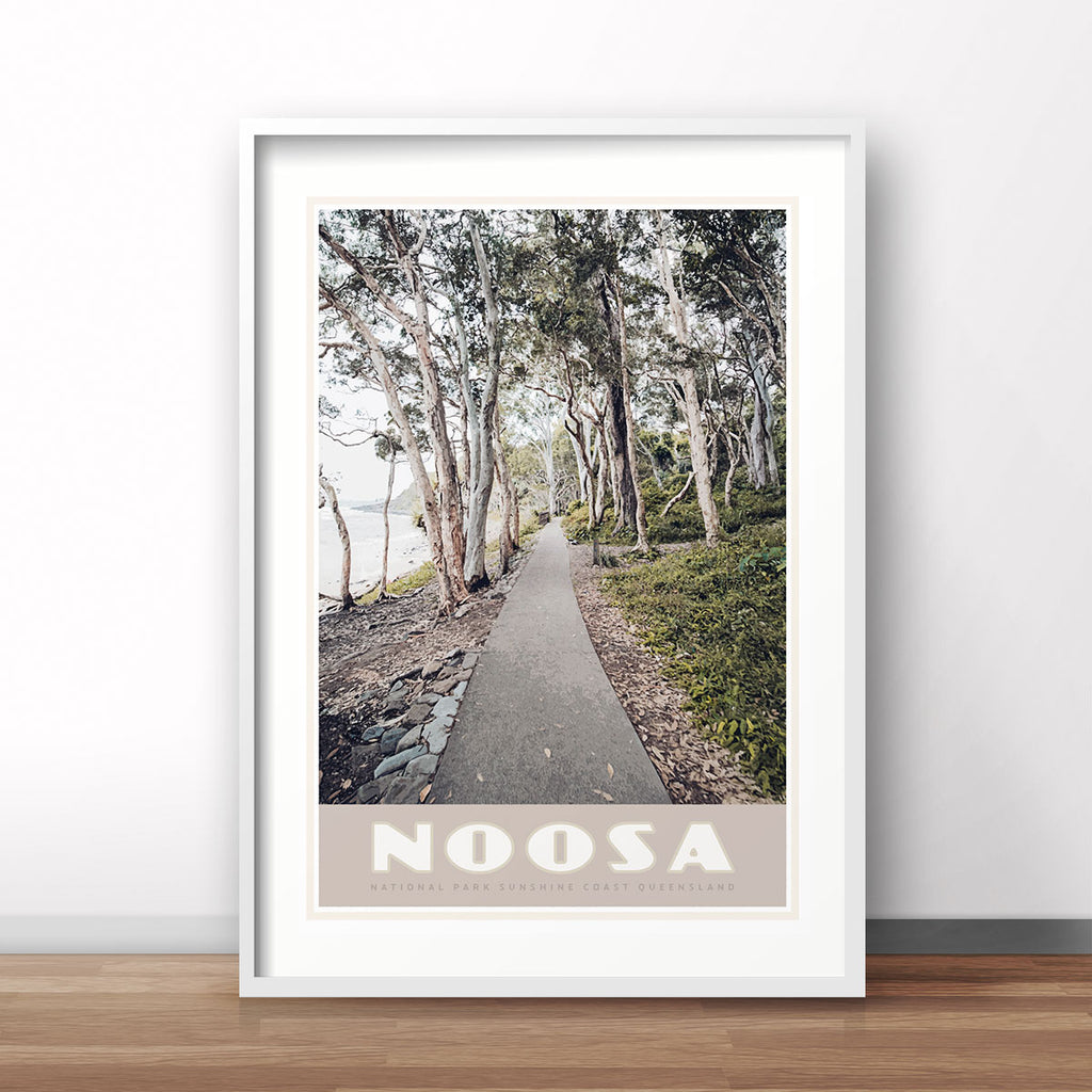 Noosa vintage travel style poster by places we luv