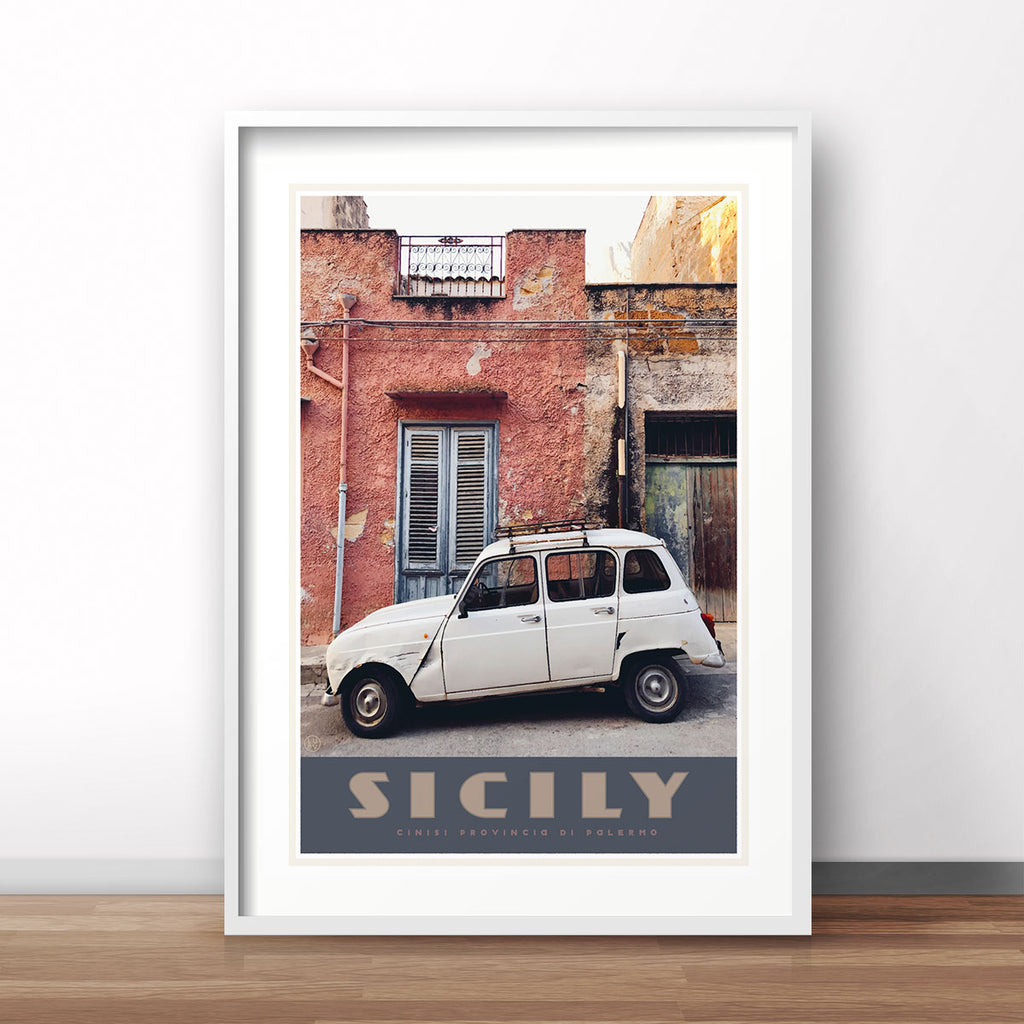 Sicily vintage travel style poster by Places We Luv