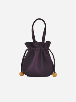 Anna Drawstring Purse, Dark Purple
