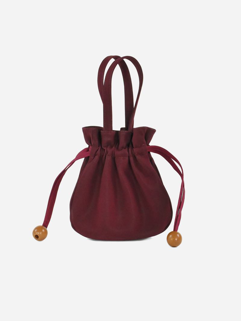 Anna Drawstring Purse, Burgundy