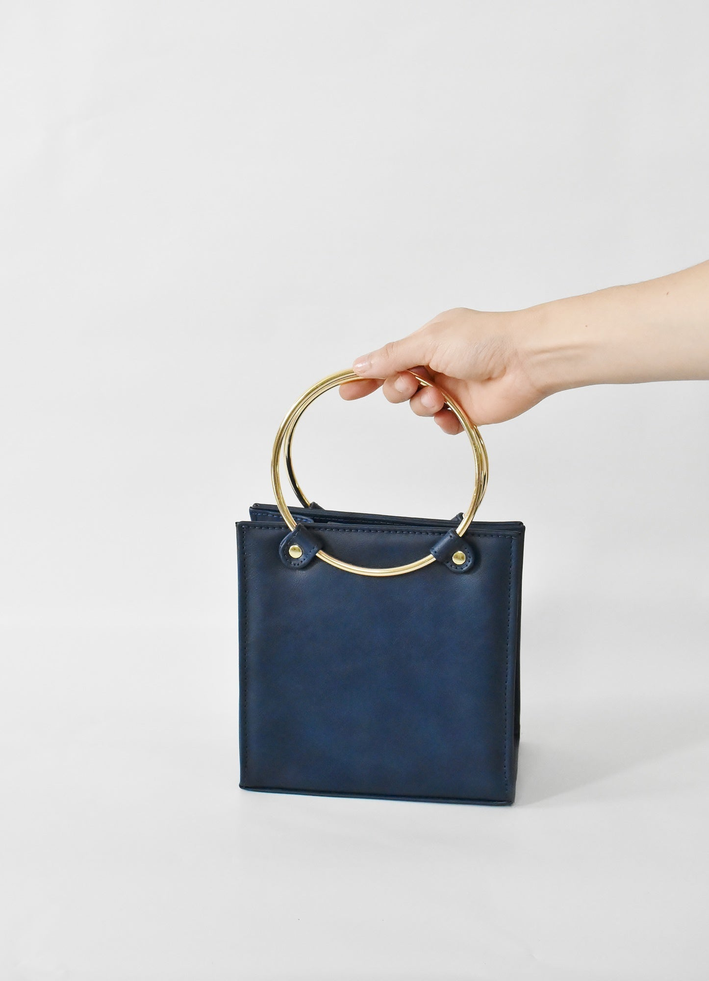 Mini Square Ring, Navy Blue