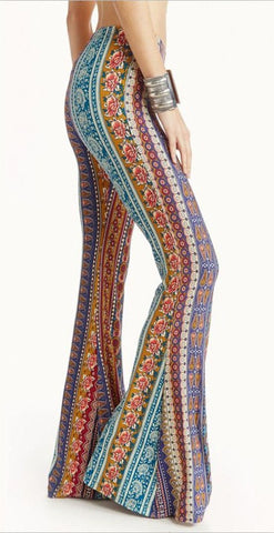 Bell Bottoms Bohemian Print Comfy Stretch Pants Groovy Colors Orange Teal Red Blue White Sizes Small Medium Or Large