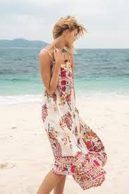 "Cami Top ""Hotel Paradiso"" Boho Maxi Dress Pink Print Long Flowing Beach Paradise Gown Sizes Small Medium Or Large"
