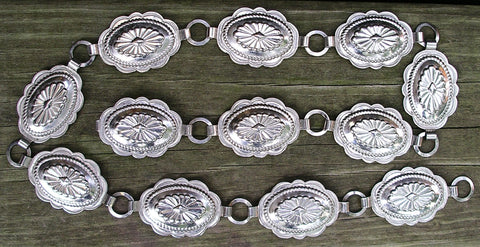"Silver Concho Belt  Boho XXS XS Small Or Medium 31"" Length Southwestern Western Cowgirl Adjustable"