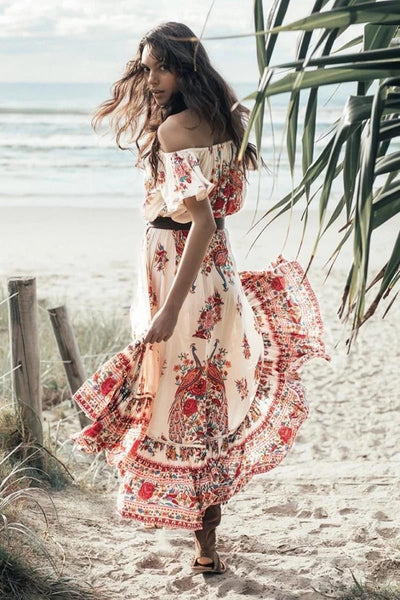 "Boho Off The Shoulder Maxi Dress ""Hotel Paradiso"" Red Peacock Print Gypsy Gown Sizes Small Medium Or Large"