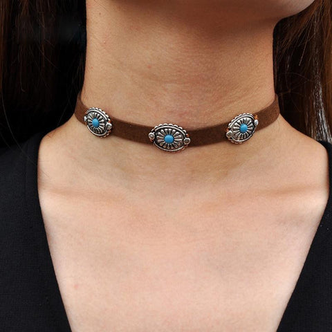 Concho Choker With Turquoise Centers On Vegan Tan Suede Necklace Boho Cowgirl Southwestern Jewelry