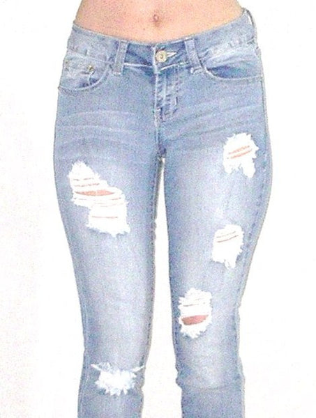 SALE 50% OFF Destroyed Faded Skinny Jeans Stretch Denim Distressed Five Pocket Boho Hippie Gypsy Pants Sizes 1, 3, 5, 7, 9, 11, 13, and 15