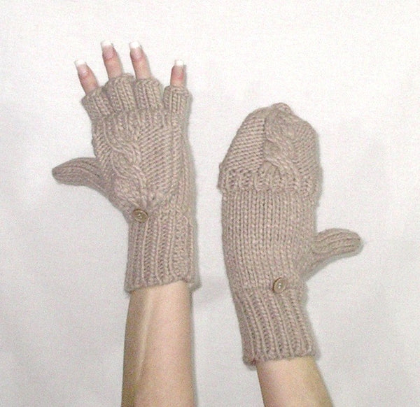 Flip Top Mittens Fingerless Gloves Beige Tan Cable Knit Texting Touch Screen Mittens Button Off And On
