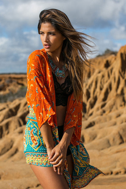 "Boho Kimono ""Kamisha"" Orange And Turquoise Blue Crescent Moon India Print Sizes Small Medium Or Large"