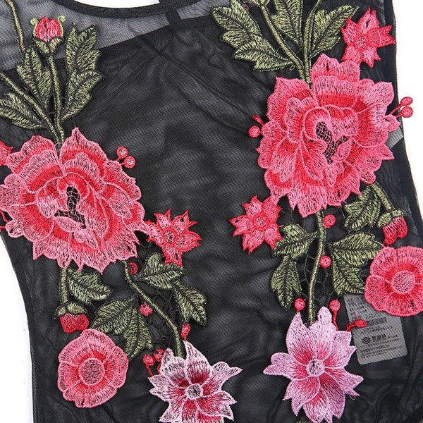 "Black Mesh Bodysuit With Roses Embroidery ""Brick In The Wallflower"" See Through Festival Top Small Medium Or Large"