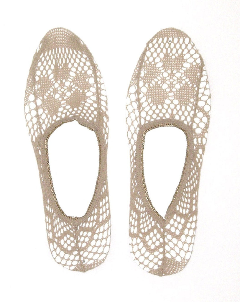 Tan Crochet Peep Socks Boho Beige Booties No Show Nude Footies Ballet Slippers Short Socks Shoe Liners Great With Flats & Pumps