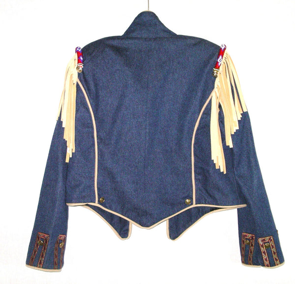Boho Jean Jacket Indian Seed Bead Leather Fringe Epaulets Handmade One Of A Kind Tailored One Size Fits XS Small Medium Large Or Extra Large XL