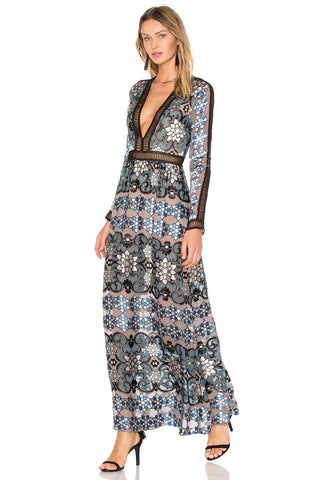 "Boho Maxi Dress ""Juliet"" Blue Mosaic Print With Black Ladder Crochet Plunging V Neck Elegant Gown Sizes Small Medium Or Large"