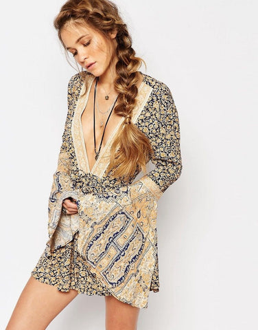 Once Upon A Summertime Boho Romper Playsuit By Free People Size XS Blue Golden Floral Extra Small Bell Sleeve Plunge Neck Backless Shorts Set One Piece