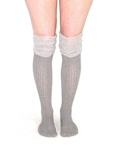 Gray Pointelle Socks