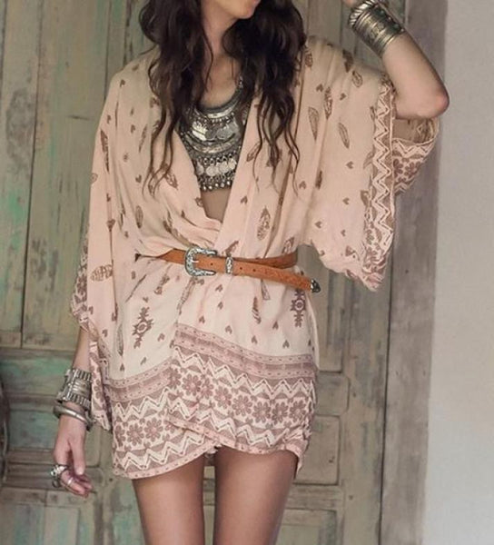 Western Kimono Peach Brown Longhorn Skull Feather Print Boho Chiffon Beach Wrap Dreamcatcher Tribal Size Small Medium Or Large