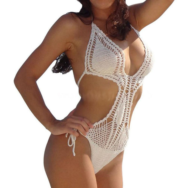 White Crochet One Piece Swimsuit Bohemian Boho Bikini Tie Sides One Size