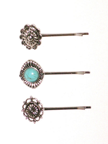 Turquoise Concho Bobbypin Set 3 Piece Boho Silver Tone Southwestern Barrette Festival Hair Pins For Free Spirited People