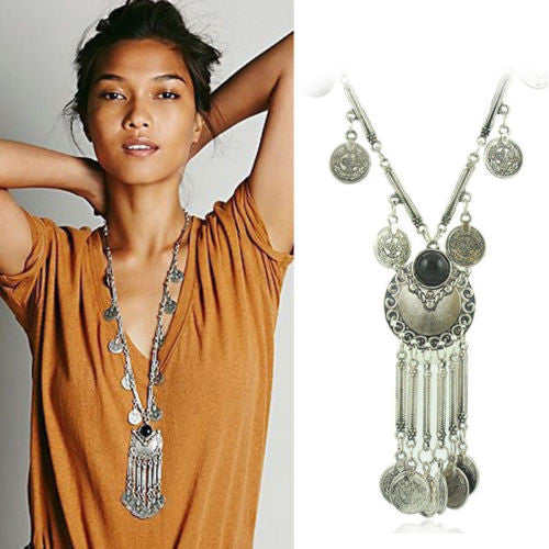 Long Gypsy Coin Necklace Silver Tone With Black Stone Center Dangling Jingling Coins Bohemian Jewelry