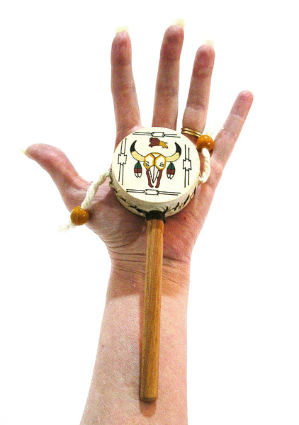 Festival Hand Drum Tribal Native Longhorn Buffalo Skin Rattle Small Purse Size Musical Percussion Instrument