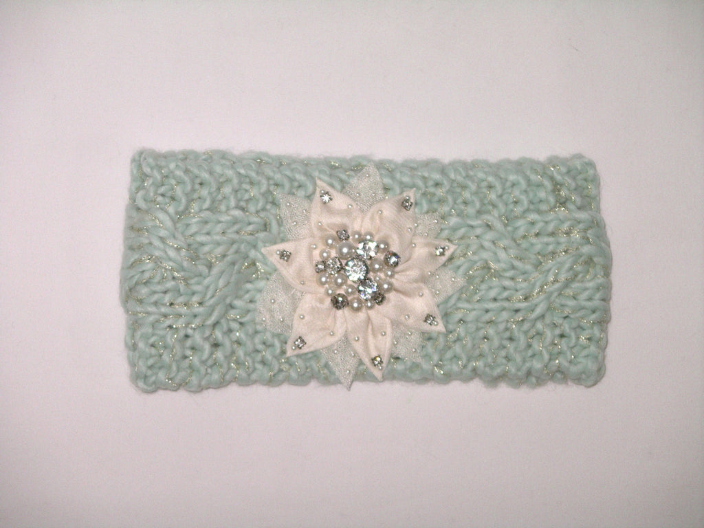 Boho Ear Warmer Headband Mint Cable Knit With White Bling Flower ...