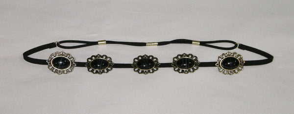 Black Stone Suede Concho Headband Boho Black Marbled Ovals Set In Brass Tone On Vegan Leather Laces Southwestern Cowgirl Cameos